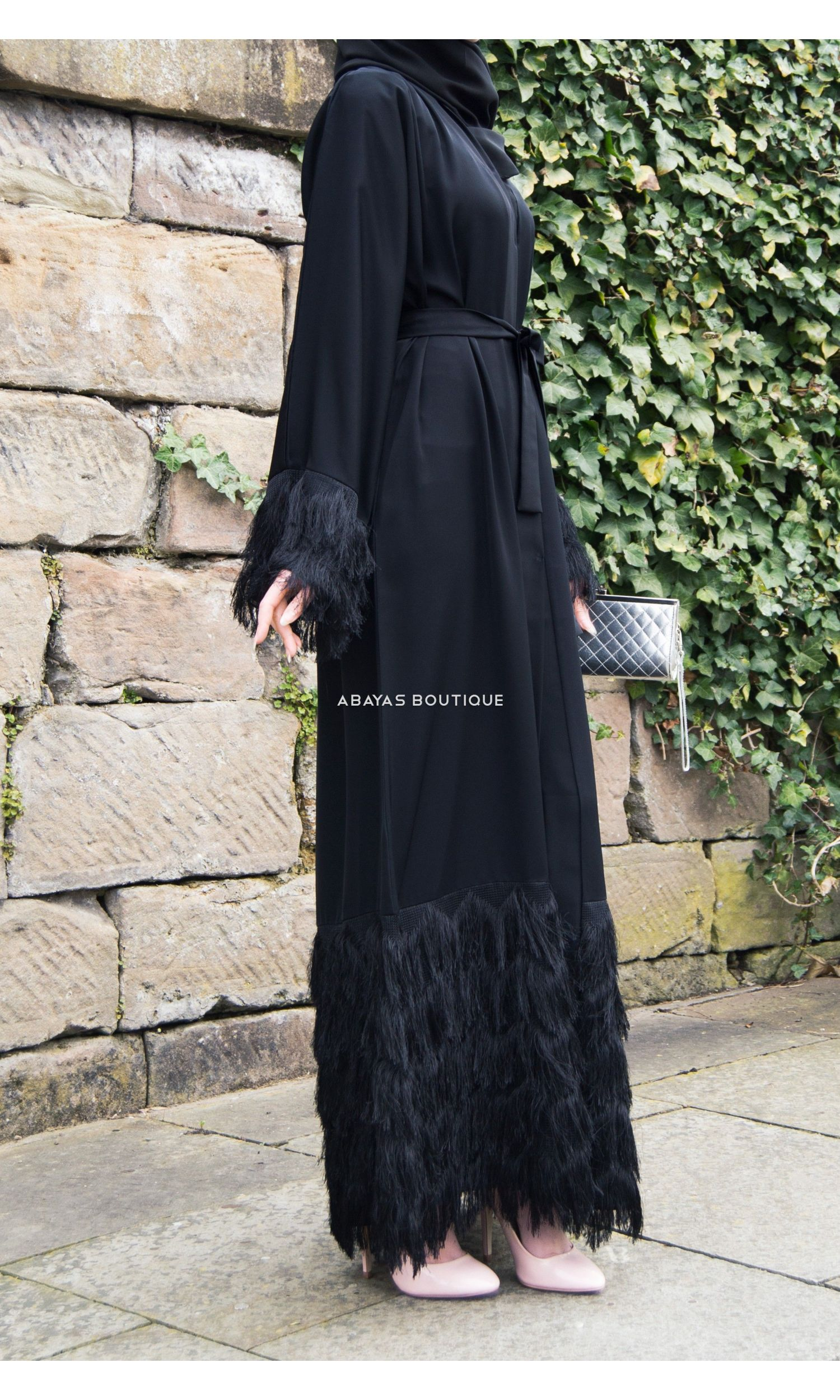 Bleu Countess Abaya with Silver Zipper