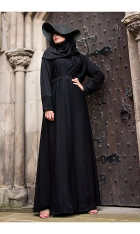 Longline Open Abaya Black