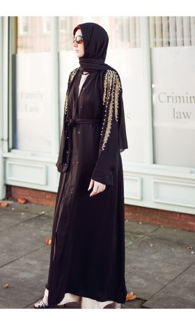 Grecian Gold Black Leaf Abaya