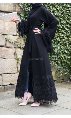 Illaria Fringed Open Abaya in Black