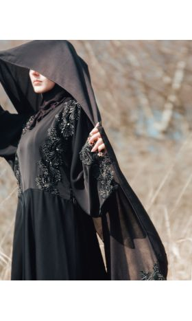 Midnight Lace Up Abaya