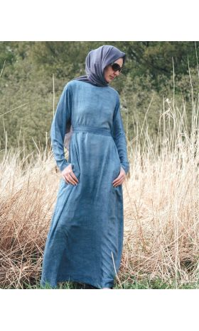 Tie-Dye Cotton Slim Abaya in Coast