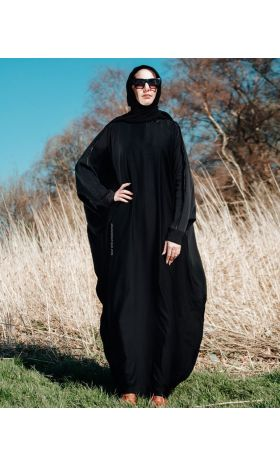 Satin Trim Butterfly Abaya