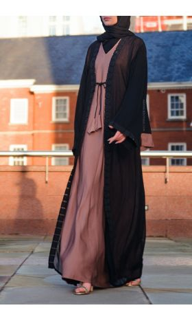 Knotted Pink-Dusk Layered Abaya