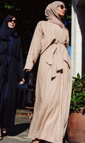 Trench-Style Abaya in Blush