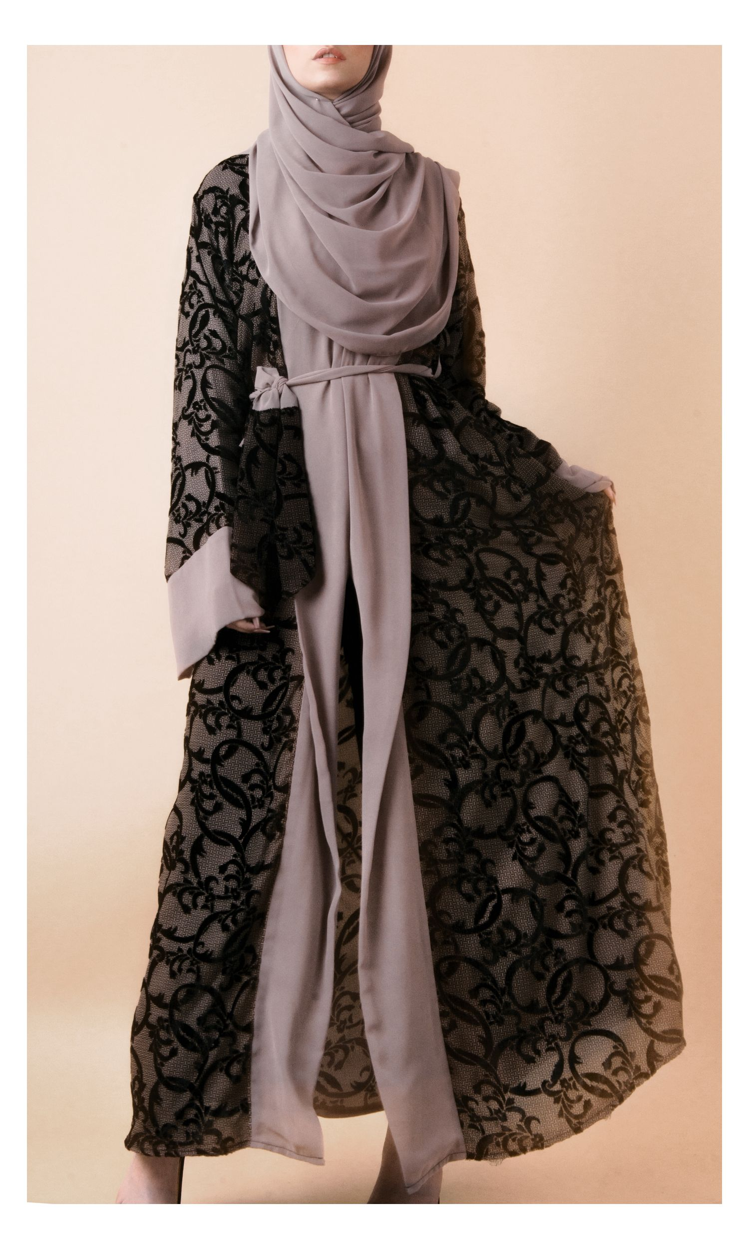 Grey Ostrich Feather-Lace Kimono