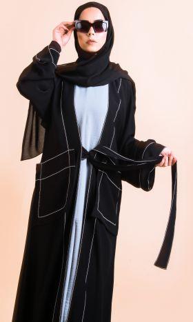 Top Stitching Black Abaya