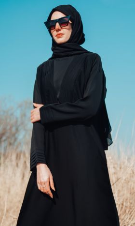 Pleated Neckline Abaya