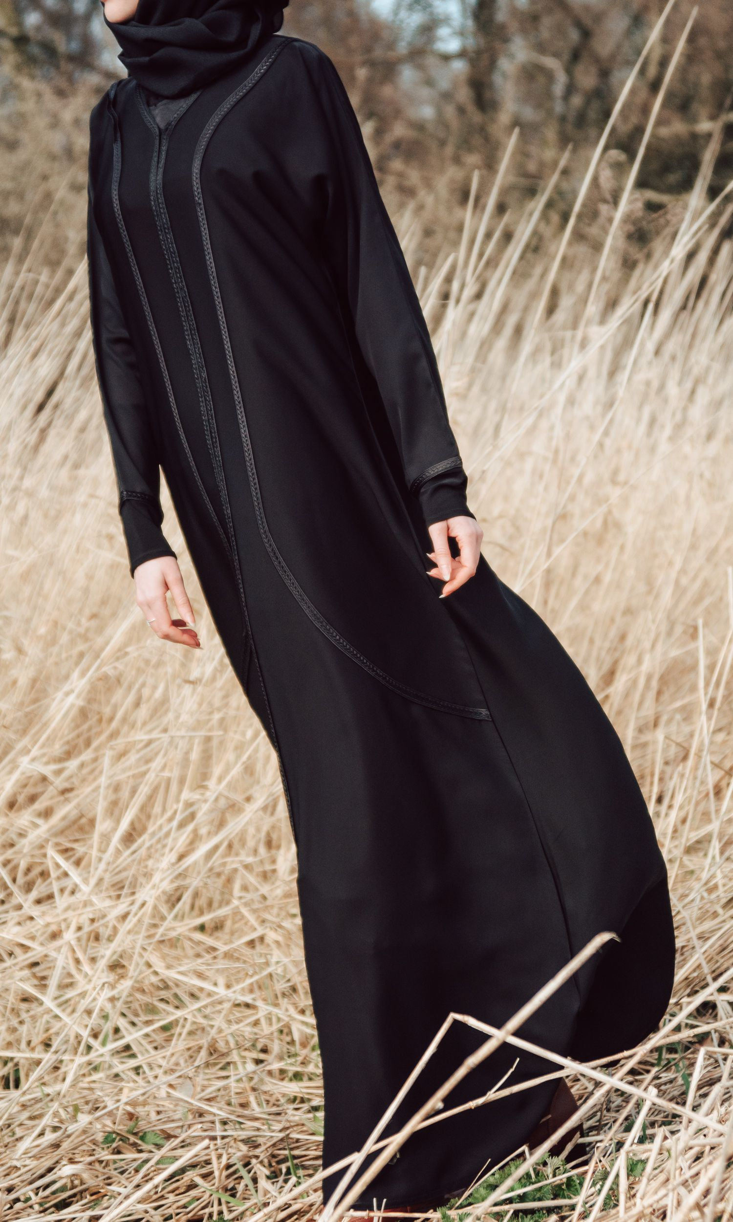 Velvet Fishtail Skirt Open Abaya