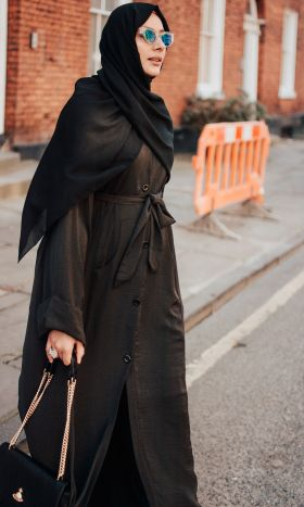 Travellers Button-Down Abaya Brown