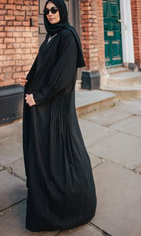 Mika Linen Pleated Open Abaya