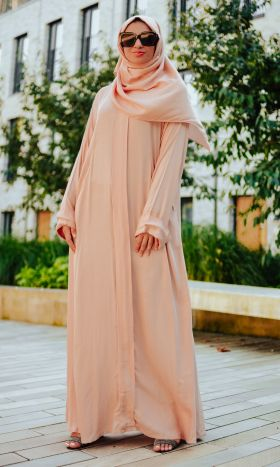 Cotton Zip Through Abaya Peach