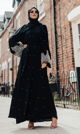 Bonita Black Pearl & Lace Open Abaya