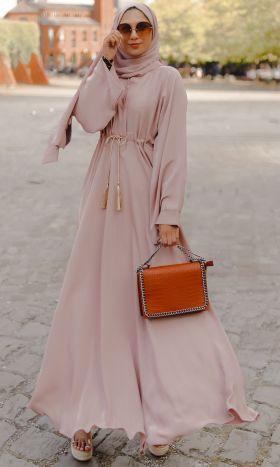 Soft Pink Flared Abaya