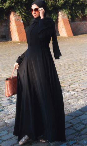 Black Fit & Flare Shirt Abaya