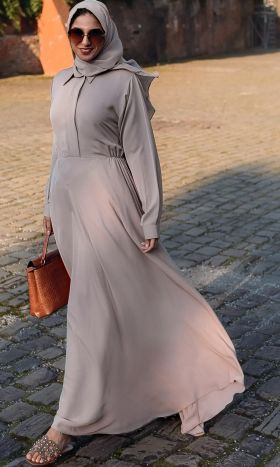 Neutral Fit & Flare Shirt Abaya
