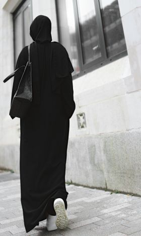 The Black Texture Abaya