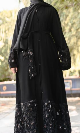 Black Rose Lace Open Abaya