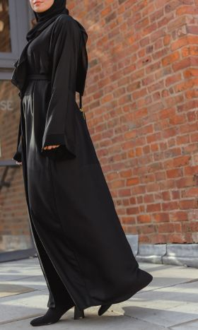 Geometric Textured Open Abaya