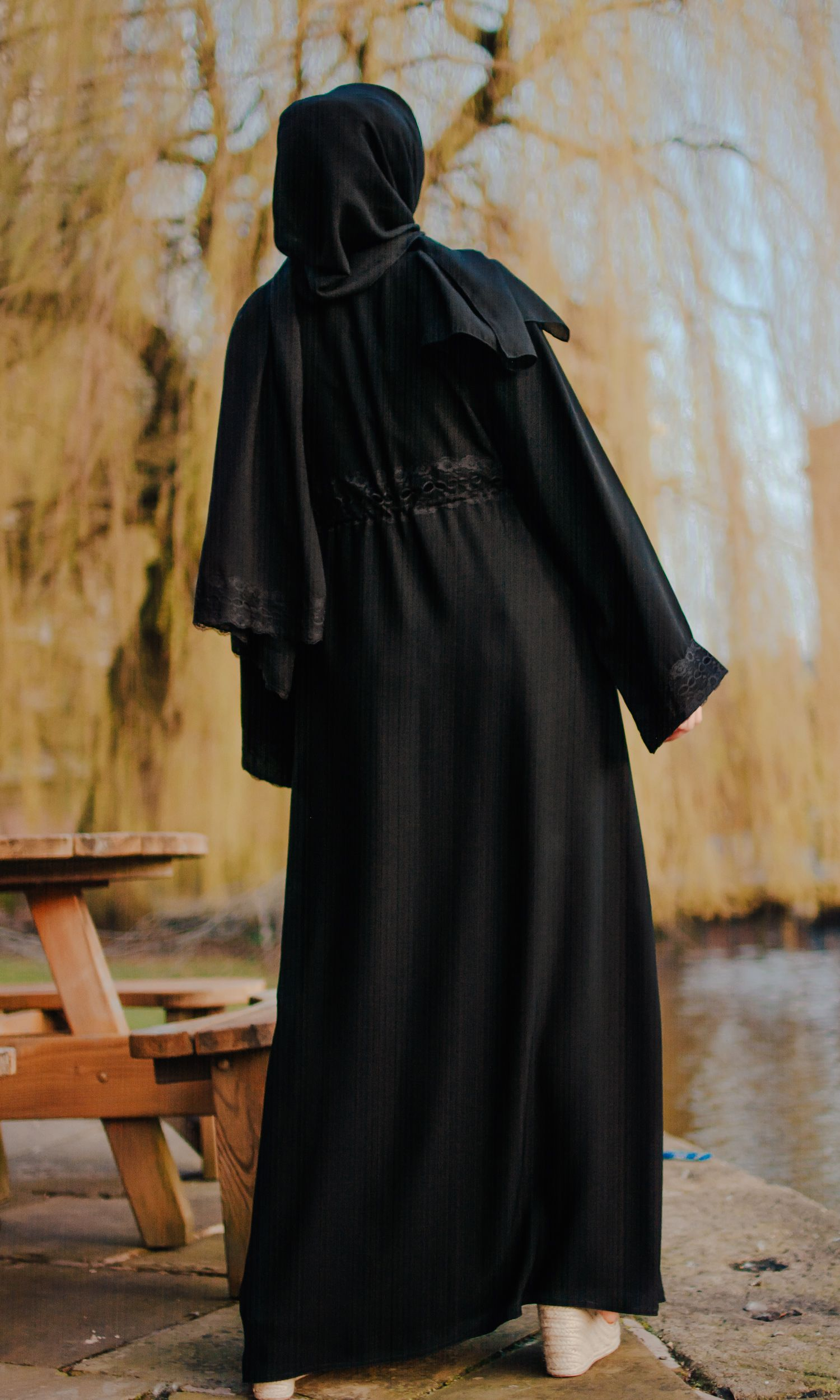 Tiered Chiffon Layer Open Abaya