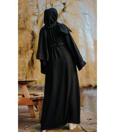 Tiered Chiffon Layer Open Abaya