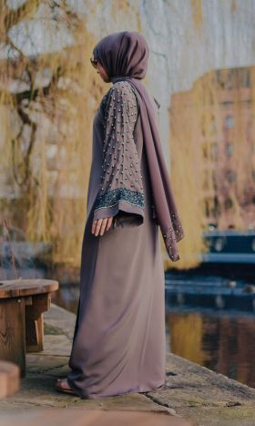 Ophelia Gold-Embellished Open Abaya