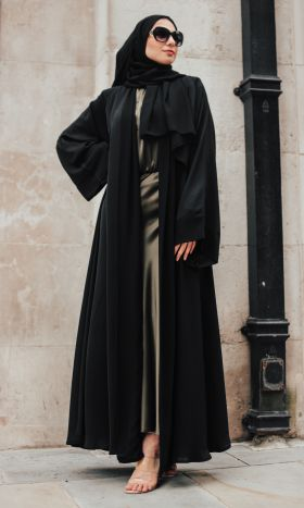 Amani Luxury Black Chiffon Open Abaya