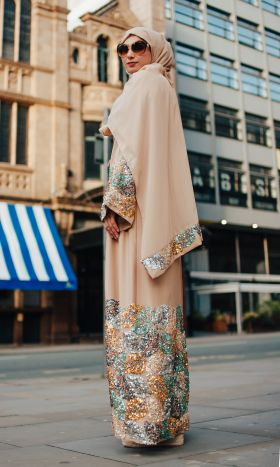 Razzaz Sequin Foliage Open Abaya
