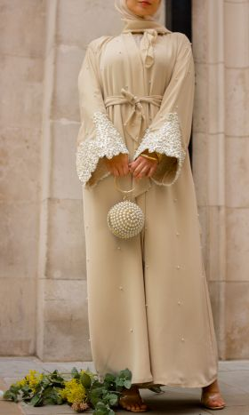 Bonita Cream Pearl & Lace Open Abaya