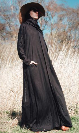 Cotton Zip Through Abaya Black