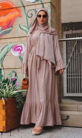 Ruffle Cover-up in Dusky Pink