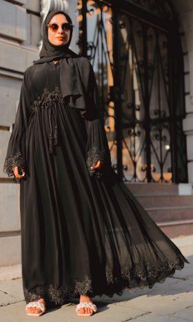 Noir Chiffon Abaya