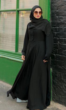 Black Fit & Flare Shirt Abaya