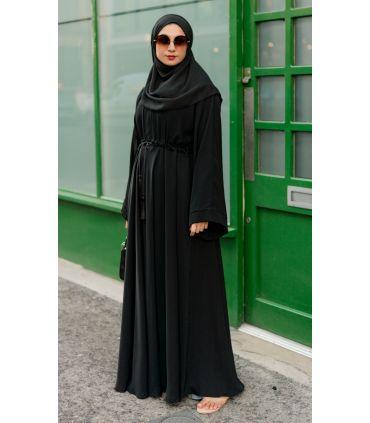 Longline Open Abaya Slate